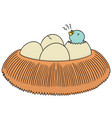 set of bird nest and egg vector image