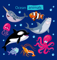 set of cartoon ocean animals vector image