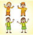 set of girls and boys in school costumes vector image