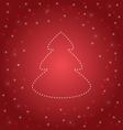 Shining Christmas tree on red vector image vector image