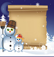 Snowmen on a winter background vector image
