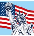 statue liberty usa flag vector image vector image