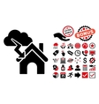 Storm Building Flat Icon with Bonus vector image vector image