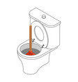 toilet bowl and suction cup isometric restroom vector image vector image