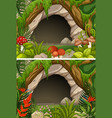 two scenes of cave and flowers vector image