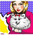 vintage pop art girl with her pet dog vector image vector image