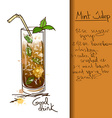 with hand drawn Mint Julep cocktail vector image