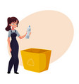 young woman holding plastic bottle waste garbage vector image vector image