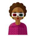 young woman wearing 3d eyeglasses flat icon vector image