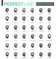 black classic brain mind process icons set vector image