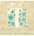 Vintage Christmas card with gift box EPS 8 vector image