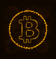 bitcoin digital currency silhouette of lights vector image