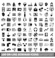 100 on-line seminar icons set simple style vector image vector image