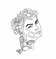 abstract woman face with bird and flowers one