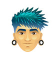 asian man with blue hair and tunnels in ears vector image vector image