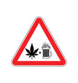 attention drugs and alcohol dangers red road sign vector image vector image