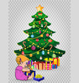 baby girl open gift near decorated christmas fir vector image vector image
