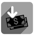 Banknotes Income Flat Square Icon with Long Shadow vector image vector image