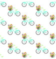 bicycle with spring flowers seamless pattern vector image vector image