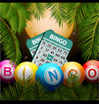 bingo balls and cards over moon and palm trees vector image vector image