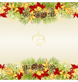 border christmas decoration with pine cones vector image vector image