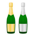 bottles of champagne with golden and silver labels vector image