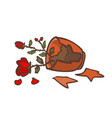 broken red rose pot on the ground vector image vector image