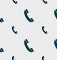 Call icon sign Seamless pattern with geometric vector image vector image