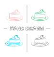 cheesecake with strawberry hand drawn icons set vector image vector image