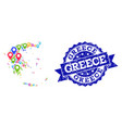 collage map of greece with map pointers and grunge vector image