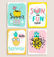 cute set of 4 bright summer cards vector image vector image