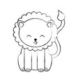 cute sketch draw lion cartoon vector image vector image