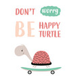 cute turtle on skateboard vector image