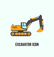 excavator icon in flat style construction vector image