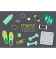 Flat icons set of fitness tools elements Gym bag vector image