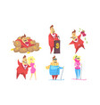 funny rich millionaire in different situations set vector image