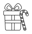 gift box and candy cane celebration merry vector image vector image
