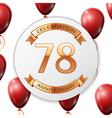 Golden number seventy eight years anniversary vector image vector image