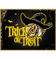 halloween card with witch head vector image vector image