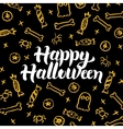 Happy Halloween Gold Black Postcard vector image vector image