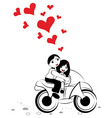 Happy man and woman in love on motorcycle vector image