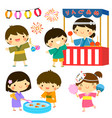 kids at summer festival in japan vector image vector image