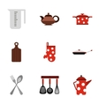 Kitchen utensils icons set flat style vector image vector image