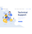 landing page template technical support concept vector image