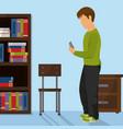man reading in smartphone design vector image vector image