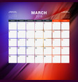 march 2018 calendar planner design template with vector image
