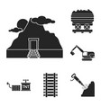 mining industry black icons in set collection for vector image vector image