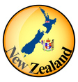 orange button with the image maps of New Zealand vector image vector image