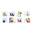 people relax home man read book apartments vector image