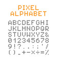 pixel english alphabet and numbers vector image vector image